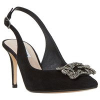 Dune Daphnie Jewel Sling Back Court Shoes Black