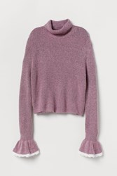 Handm H M Sweater With Ruffled Cuffs Pink