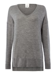 Part Two Soft Merino Wool Pullover With Drop Shoulders Grey