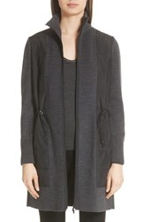 Lafayette 148 New York Quilted Panel Wool Sweater Coat Smoke