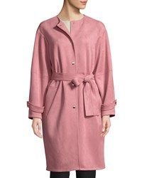 Laundry By Shelli Segal Button Front Belted Suede Coat Medium Pink