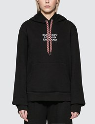 Burberry Embroidered Logo Cotton Oversized Hoodie Black