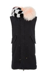 Mr And Mrs Italy Intarsia Fur Collar Waistcoat Black