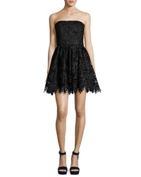 Alice Olivia Daisy Strapless Lace Party Dress Black