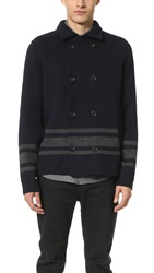 Vince Wool Stripe Pea Coat Coastal H. Black