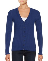 Lord And Taylor Plus Long Sleeve V Neck Ribbed Cardigan Celestial