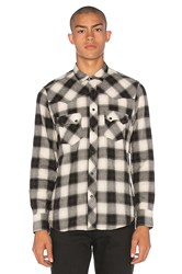 Herman Western Snap Shadow Plaid Button Down Black And White