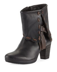 Sheridan Mia Whipstitch Leather Fold Over Bootie Black