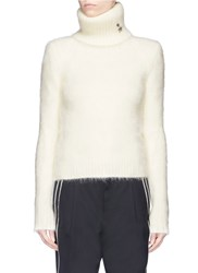 Saint Laurent Star Pin Brushed Knit Turtleneck Sweater White
