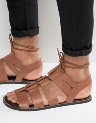 Asos Gladiator Sandals In Tan Leather With Tie Lace Tan