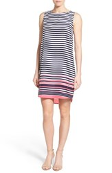 Women's Halogen Sleeveless Shift Dress Navy Coral Border Stripe