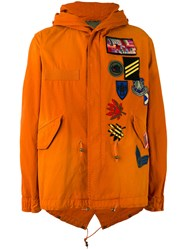 Mr And Mrs Italy Badge Patch Hooded Coat Yellow Orange