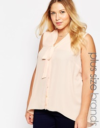 New Look Inspire Tie Neck Detail Sleeveless Blouse Nude