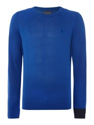 Perry Ellis College Crew Neck Contrast Cuff Jumper Blue