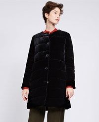 Aspesi Silk Velvet Down Filled Coat Black