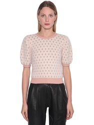 Red Valentino Angora Blend Lurex Intarsia Sweater Nude