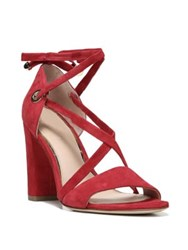 Diane Von Furstenberg Calabar Lace Up Suede Block Heel Sandals Red