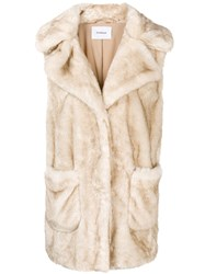 Dondup Faux Fur Gilet Nude And Neutrals