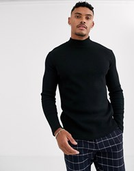 Bershka Join Life Waffle Long Sleeved Top With Turtleneck In Black