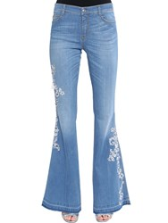 Ermanno Scervino Flared Lace Embroidered Denim Jeans Blue