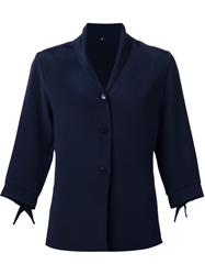 Peter Cohen Three Quarter Length Sleeve Blazer Blue