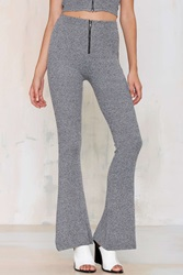 Nasty Gal Line And Dot St Martin Ribbed Flare Pants Heather Gray