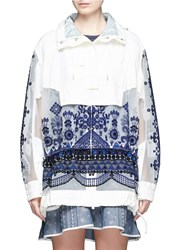 Sacai Embroidered Tribal Lace Drawstring Hooded Jacket White