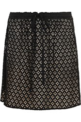 See By Chloe Cotton Blend Guipure Lace Mini Skirt Black