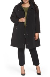 Gallery Plus Size Hooded A Line Raincoat Black