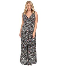 Tart Plus Size Chloe Maxi Dress Ink Geometric Women's Dress Gray