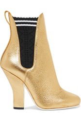Fendi Metallic Textured Leather Ankle Boots Gold