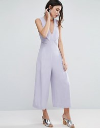 Asos Jumpsuit With Origami Detail And Culotte Leg Grey Lilac