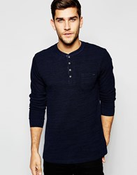 Blend Of America Blend Long Sleeve Henley Woven Slub Stripe Black