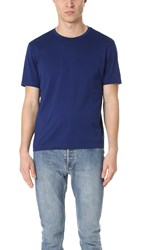 Z Zegna Mercerized Cotton Crew Neck Tee Blue