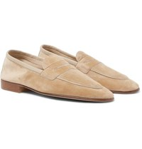 Edward Green Polperro Leather Trimmed Suede Penny Loafers Sand