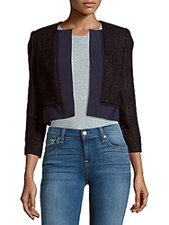 Carolina Herrera Cropped Open Front Silk Jacket Navy