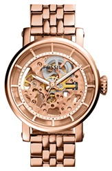 Fossil 'Original Boyfriend' Skeleton Dial Automatic Bracelet Watch 38Mm Rose Gold