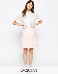 Le Kilt For Asos Wrap Mini Kilt Pink White Multi