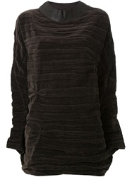 Simona Tagliaferri Creased Effect Velvet Top Brown