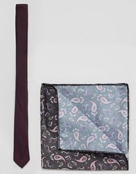 Asos Design Burgundy Tie And Paisley Pocket Square Pack Red