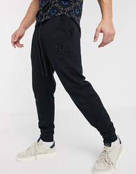 True Religion Embroidered Logo Tapered Joggers In Black