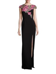 Theia Embroidered Column Gown Black