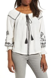 Lucky Brand Embroidered Peasant Top White Multi