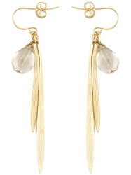 Wouters And Hendrix 'Bamboo' Rutilated Quartz Earrings Metallic