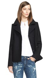 Women's Dolce And Gabbana Short Double Breasted Wool Blend Peacoat Black