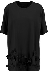 Simone Rocha Floral Appliqued Stretch Cotton Jersey T Shirt Black