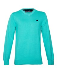 Raging Bull Big And Tall V Neck Cotton Cashmere Jumper Turquoise