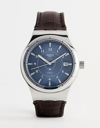 Swatch Yis404 Sistem 51 Irony Leather Watch In Brown 42Mm