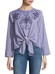 Saks Fifth Avenue Striped Floral Blouse Navy