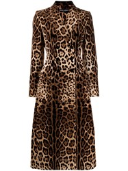 Dolce And Gabbana Leopard Print Double Breasted Coat Neutrals